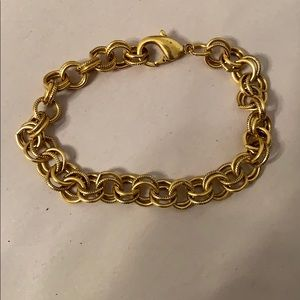 Gold tone circle link adjustable bracelet